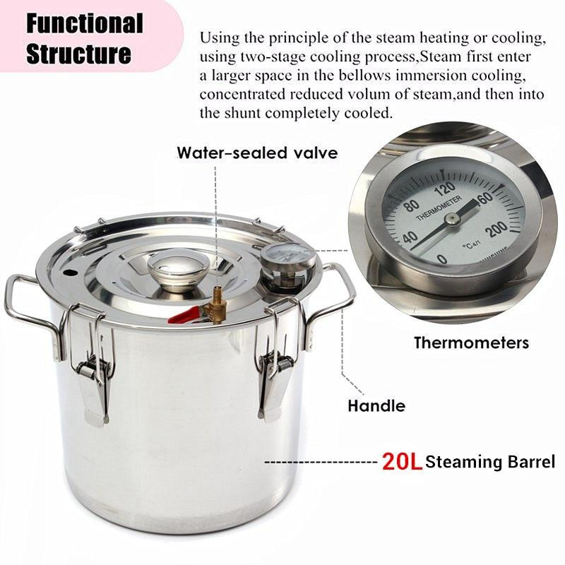 Home distiller 20L DIY moonshine alcohol stainless copper water wine essential oil brewing kit