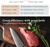 "Chef's knife 8.5"""" inch vg10 damascus steel japanese kitchen cultery rosewood handle stainless gyutou"