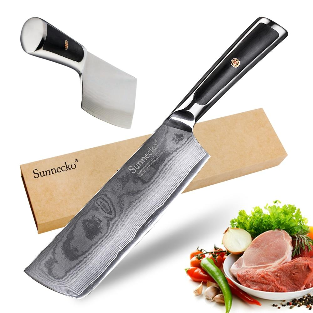 "Cleaver chef knife 7"""" inch kitchen japanese damascus vg10 steel cutter tools razor sharp 60hrc blade g10 handle"