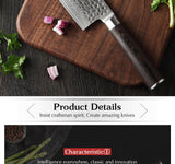 Kitchen knives6.8 inch damascus steel of chinese style stainless kitchen slicing knife with pakkawood handle