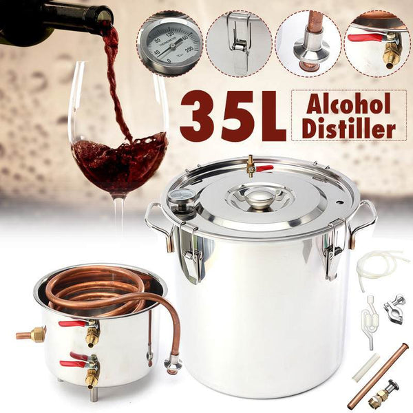 Home distiller 8gal/35l moonshine alcohol stainless copper diy water wine essential oil brewing kit