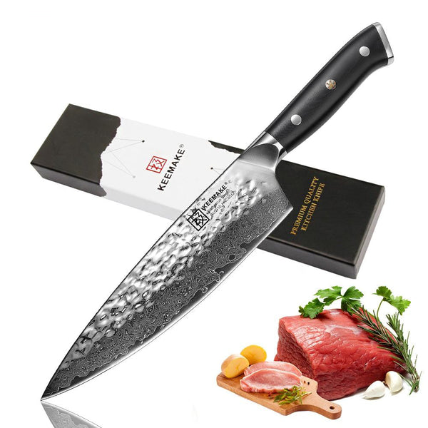 "Chef knife professional 8"""" damascus steel japanese vg10 blade kitchen knives g10 handle sharp cooking tools"