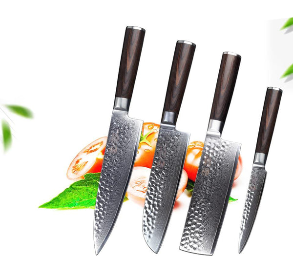 Knives set japanese 4 pcs chef damascus steel gift with wooden handle kitchen
