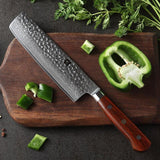 Knife 7'' slicing meat japan 67 layers damascus stainless steel kitchen stlye cleaver rosewood handle