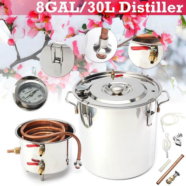 Home distiller 8gal/30l moonshine alcohol stainless copper diy water wine essential oil brewing kit beer