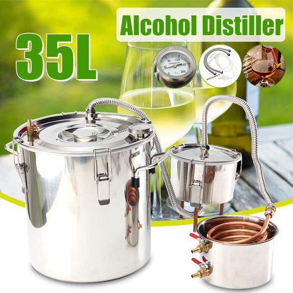 Home distiller 8gal/35l diy moonshine alcohol stainless copper water wine essential oil brewing kit +thumper keg+condenser keg