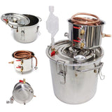 Home distiller 5gal/22l moonshine alcohol stainless copper diy water wine essential oil brewing kit