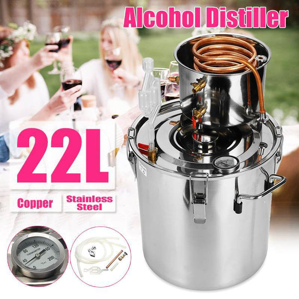 Household distiller 5 gal/20l diy whisky moonshine alcohol stainless copper water wine essential oil brewing kit for home