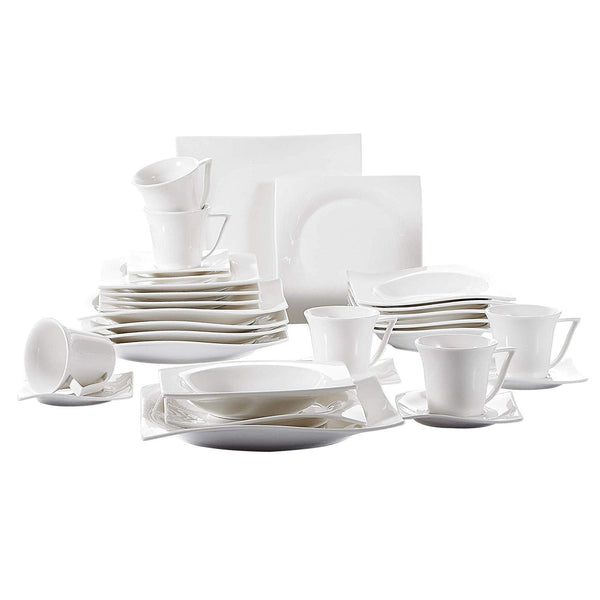 Porcelain dinnerware sets 30-pieces glazed cups saucers dessert plates dinner service set for 6person