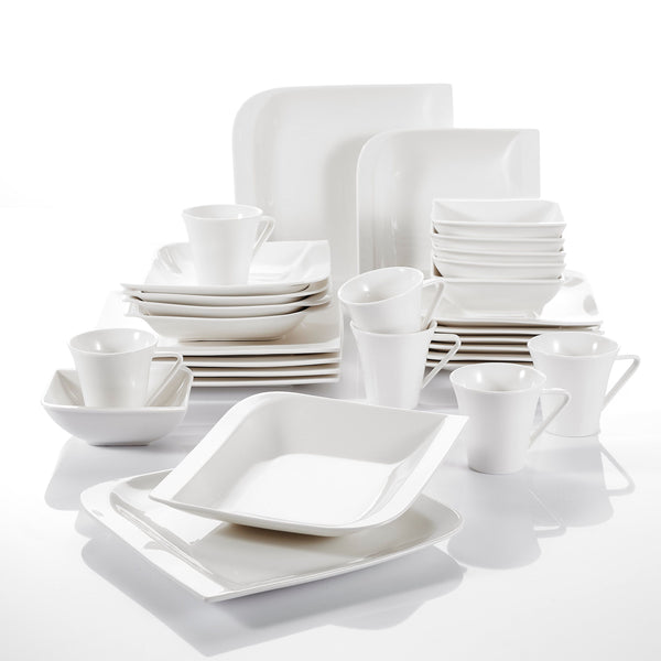 Porcelain dinnerware sets 30 pieces included cups saucers dinner dessert soup plates service for 6person