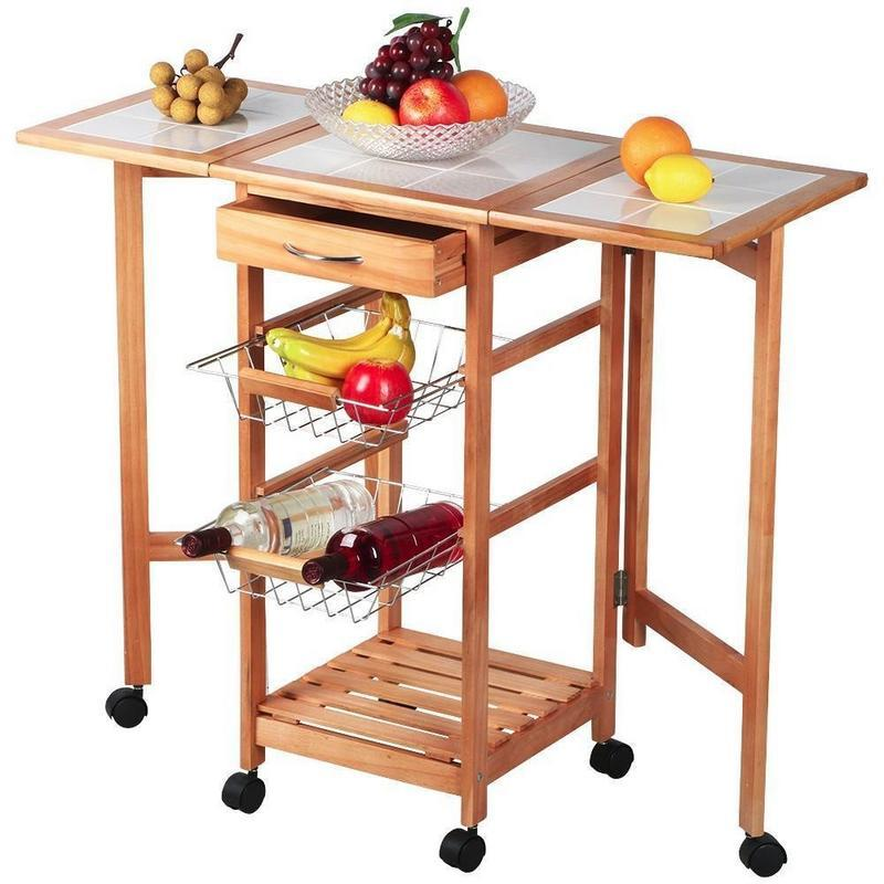 Trolley cart portable folding rolling drop leaf kitchen storage island sapele for home living room supplies