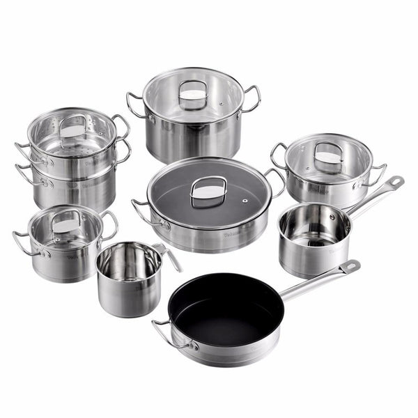 Pot & pan sets stainless steel velaze mayne cookware set 14 piece induction safe saucepan casserole with tempered glass lid