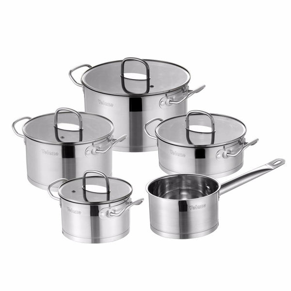Cookware set velaze 9 piece stainless steel kitchen pot pan sets induction safe saucepan casserole with tempered glass lid
