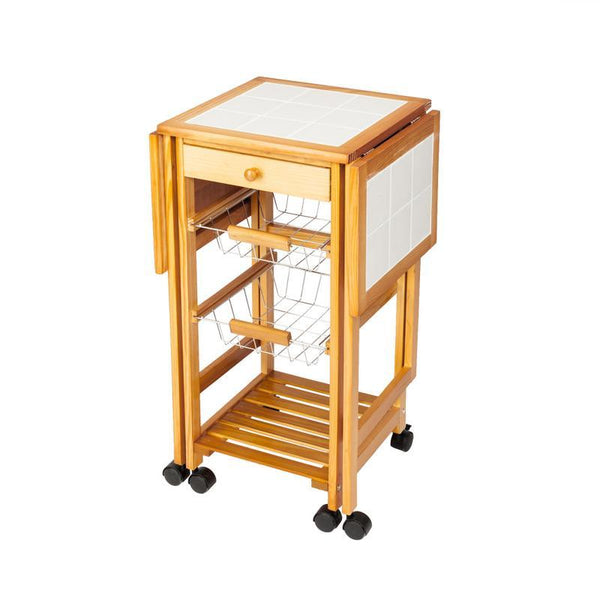 Drop leaf cart portable rolling kitchen storage trolley island sapele smart compact designed quick