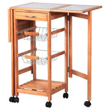Drop leaf cart kitchen portable rolling storage trolley island sapele smart compact cabinets