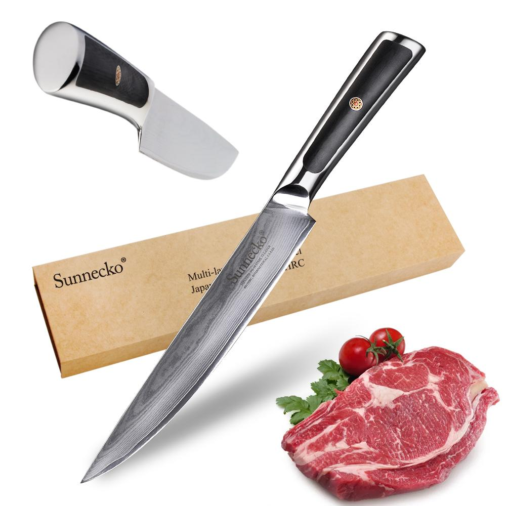 "Chef knife 8"""" slicing kitchen cutter tools japanese vg10 damascus steel sharp durable practical g10 handle"