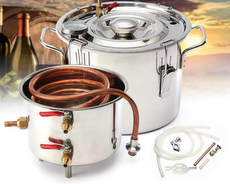 Brewing kit 10L DIY home distiller moonshine alcohol stainless copper water wine essential oil