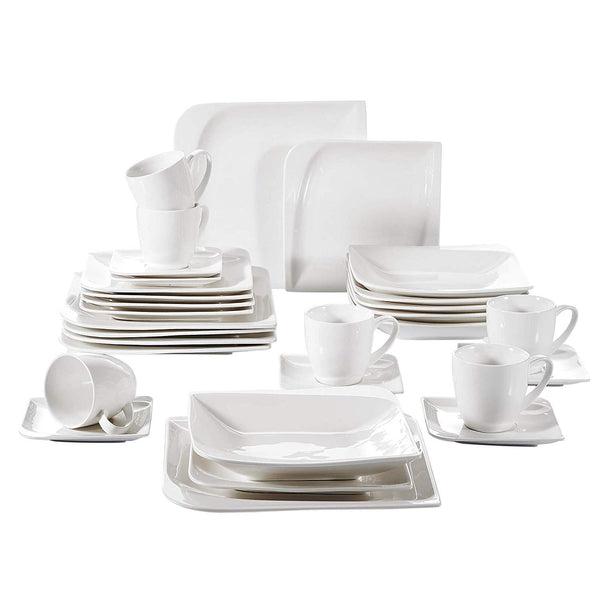 Porcelain dinnerware set 30 pieces included cups saucers dinner plates dessert plates soup plates service for 6