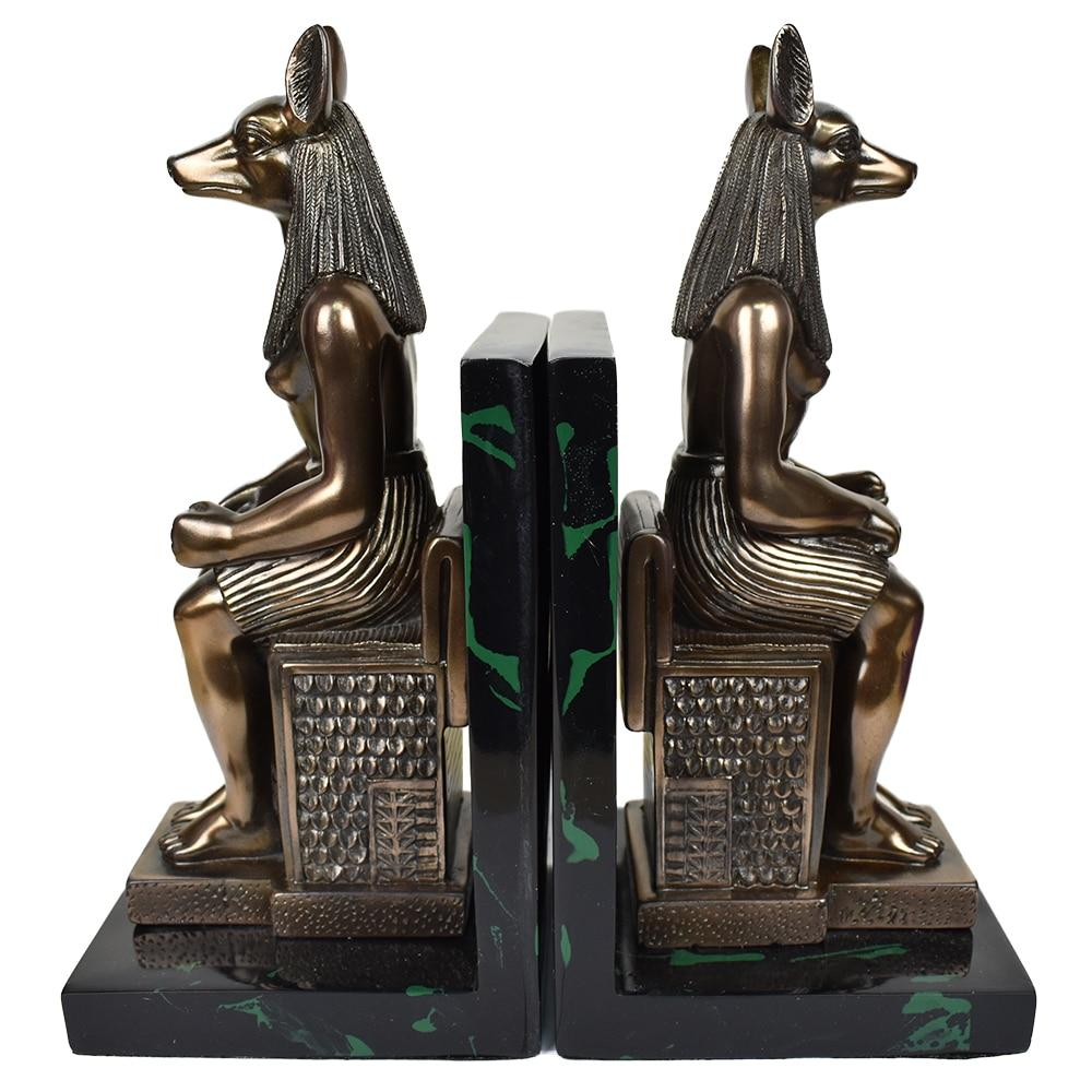 Resin sculptural bookends decorative egyptian anubis style book holder bronzed finish statues 4.8 x 10.5 inch
