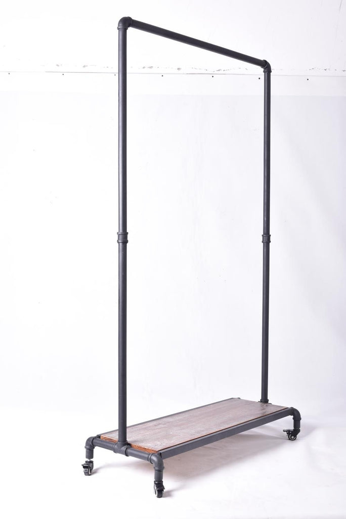 Clothing rack industrial pipe with wood garment rolling clothes commercial store display stand wheels