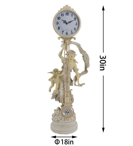 Cherub maidens sculptural mantel clock swing table modern quartz antique 74cm tall