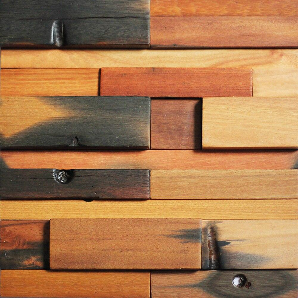 Reclaimed wood wall tile ancient boat panels set of 11