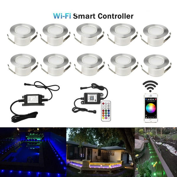 Step lights yard led deck rail stair 10pcs/lot wifi smart home 45mm 12v for alexa echo google ifttt phone app