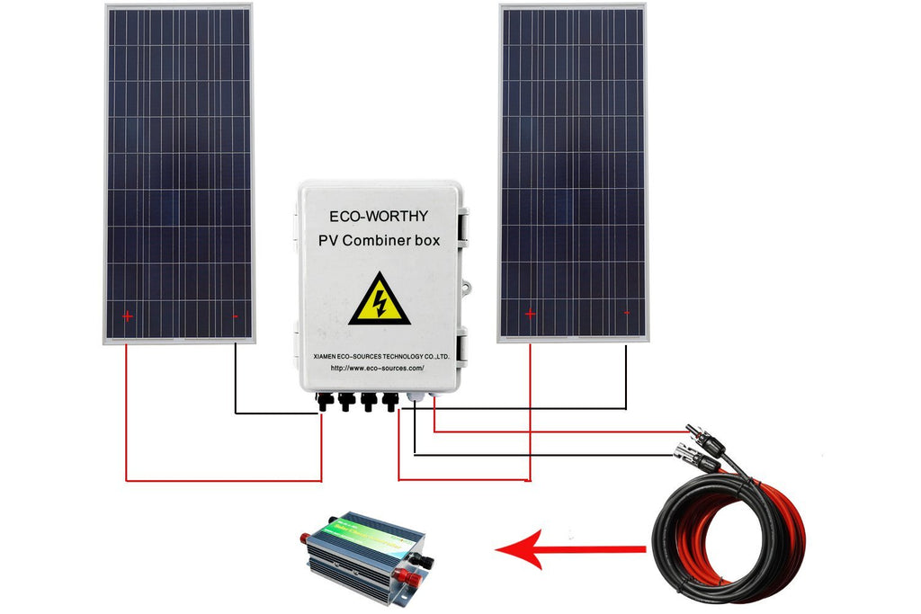 Solar pv combiner box 4-string w circuit breakers surge lightning arrester protection