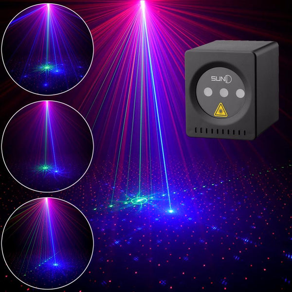 Mini portable laser 8 rgb patterns cordless projector rechargeable stage light disco dj bar club party xmas show