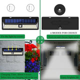 LED solar lights 4 pack 90 wall lamp three modes pir motion sensor ip65 waterproof outdoor garden security
