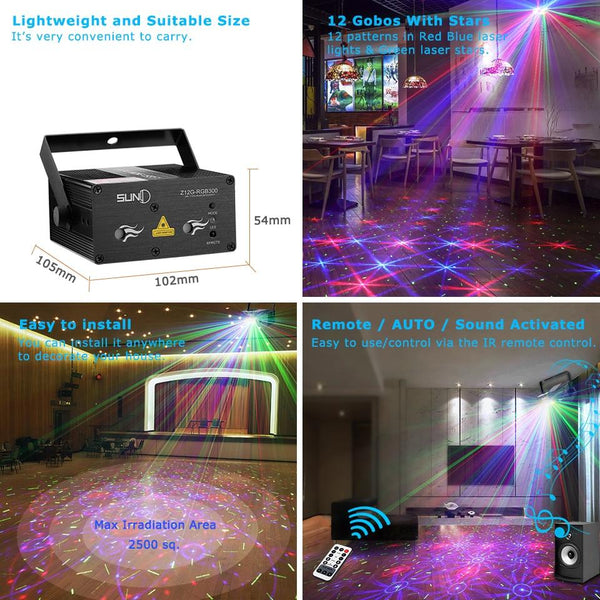 Stage laser light suny sound activated xmas decor mixing rgb effect projector disco dj party lighting home show (z12g-rgb300)
