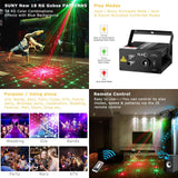 Laser light suny 18 rg patterns blue LED stage sound activated projector show for club bar dj disco home party(z18rg)