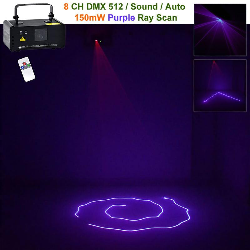 Mini laser lights 150mw purple beam ir remote 8 ch dmx moving ray scan lamp dj home party show projector pro xmas stage lighting