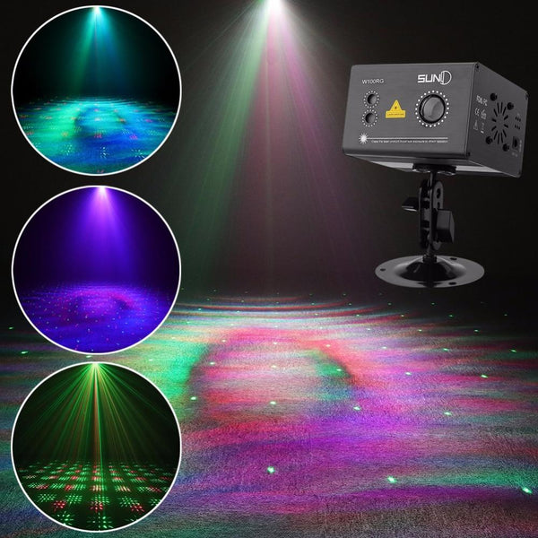 RG aurora effect laser light gobo projector w/ led rgb ripple color stage for disco dj home party xmas decor(wa100rg)