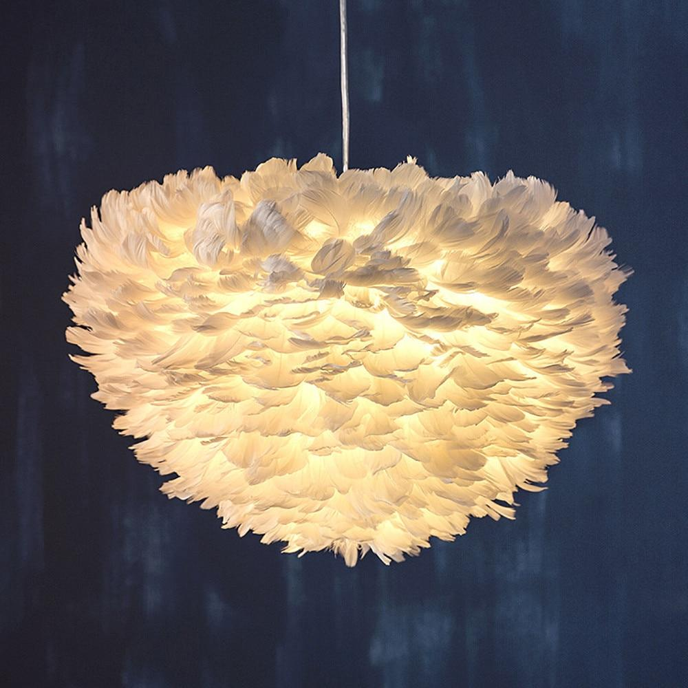 Lighting fixture 15.7 modern feather shade chandelier ceiling chandelier