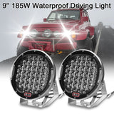 "LED round spotlight 9"""" 185w work3D light lamp off road driving car outdoor lighting"