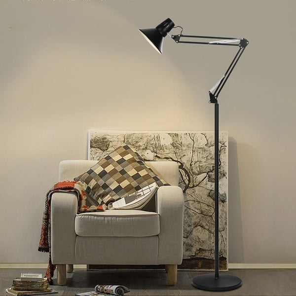 Floor lamp metal floor adjustable goose neck standing with heavy base