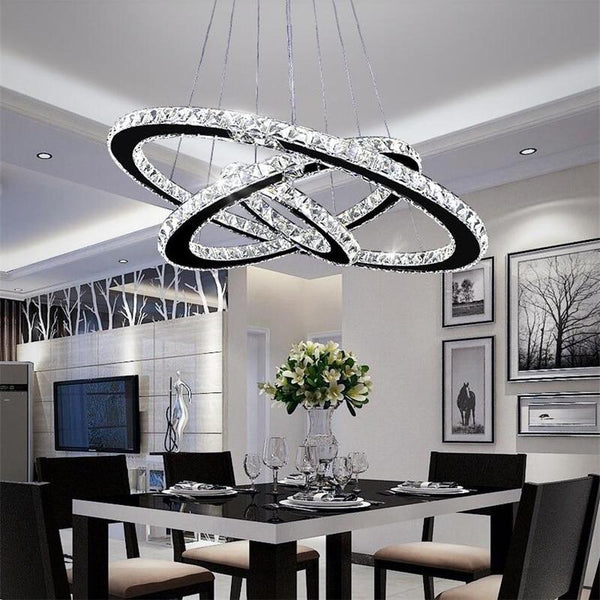 LED chandelier modern crystal 3 rings 20+30+40cm luster ceiling for living room chrome exposed lamp pendant