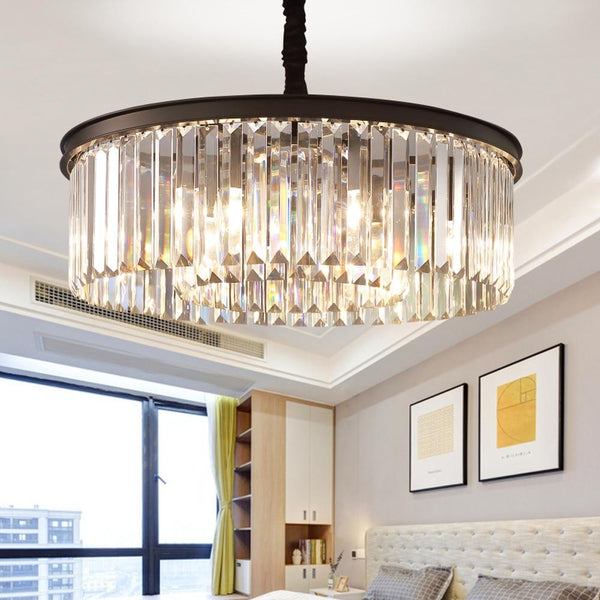 Crystal chandelier round shape lighting lustres suspension luminaires hanging lamp american style for living room