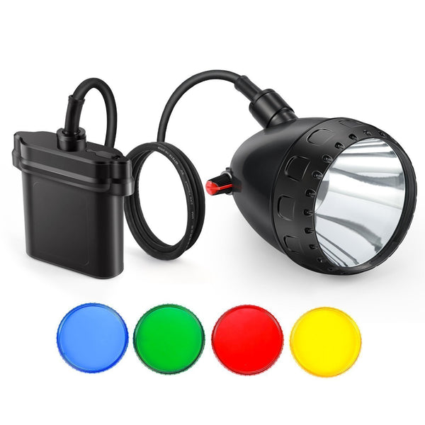 LED headlight mining 10w with filters dimmable rechargeable 11000mah battery camping predator hunting