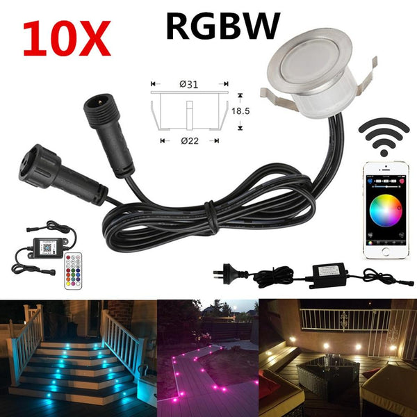 LED rail lights 10pcs/lot smart wifi phone app controller 31mm 12v ip67 terrace stair step deck for alexa google home ifttt