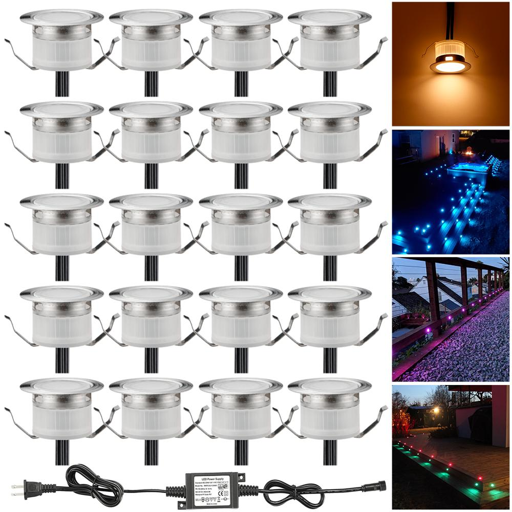 LED stair step light 20pcs/lot 31mm garden yard patio terrace waterproof lanscape inground paver lighting spot 12v ip67