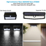 LED solar wall light 2pack lamp outdoor garden usb ip65 waterproof four modes human induction wide angle
