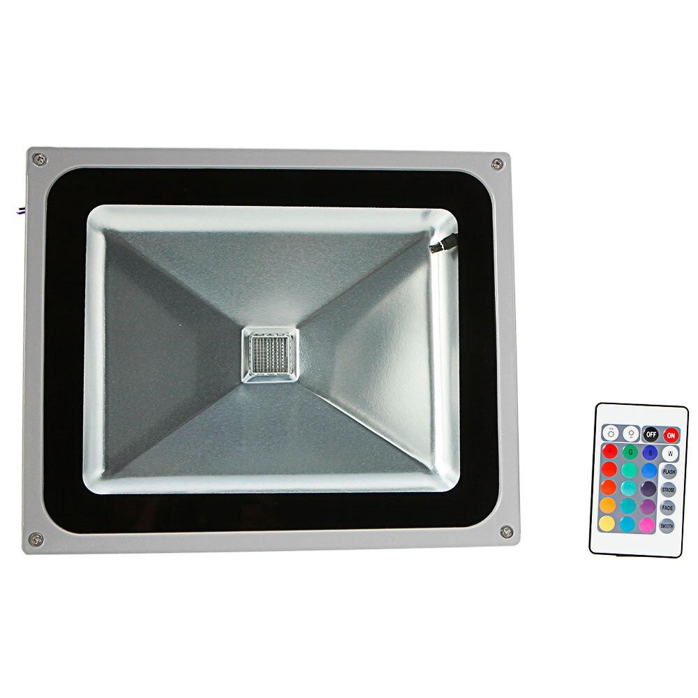 LED flood light 50w rgb aluminium alloy with ip65 waterproof & remote control gray (ac 90-260v)