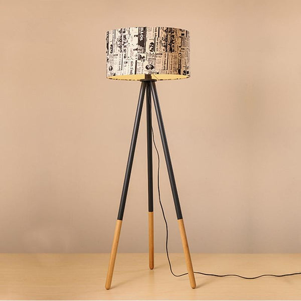 Floor lamp creative warm personality round wood vertical tripod with light source us plug