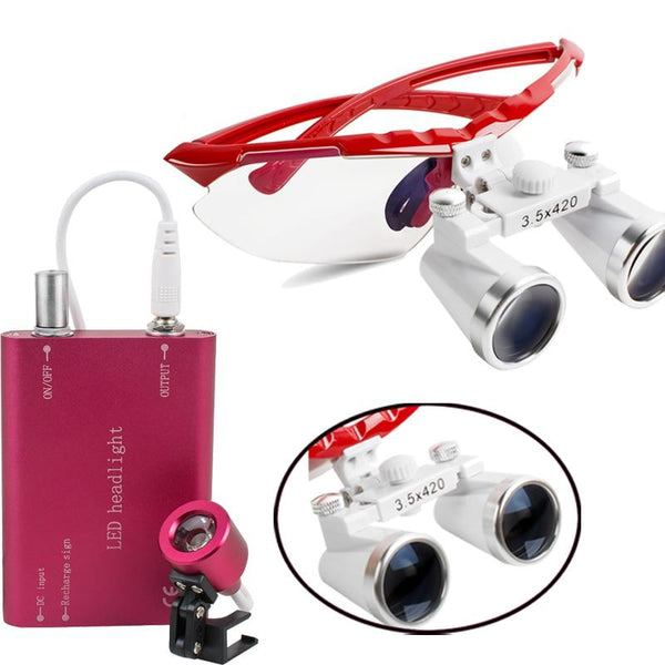 Dental surgical medical binocular loupes 3.5x 420mm optical glass loupe dentist lab tools