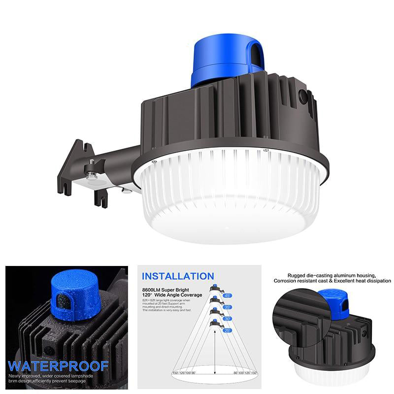 LED light 80w with photocell barn dusk to dawn outdoor ip65 waterproof professional lamp for security area yard