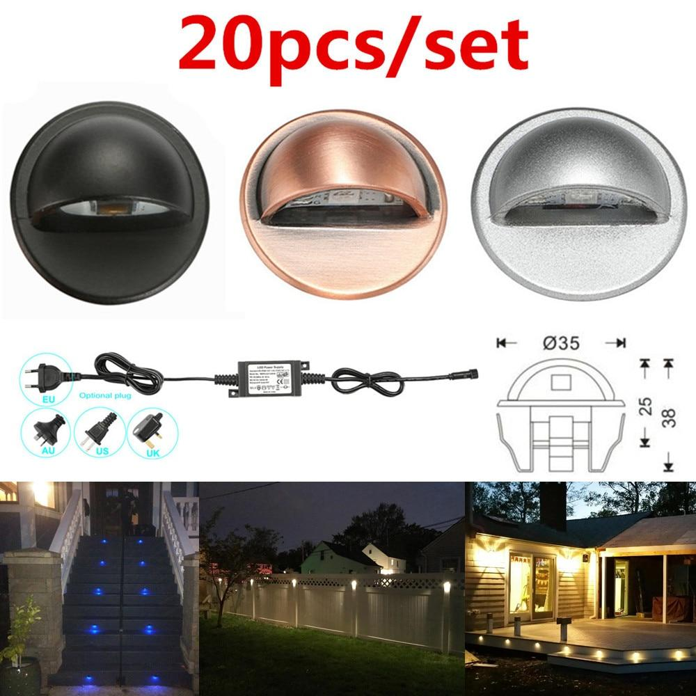 LED stair lights 20pcs/set 35mm 12v ip65 low voltage half moon deck rail step fence wall corner lamp outdoor landscape lighting