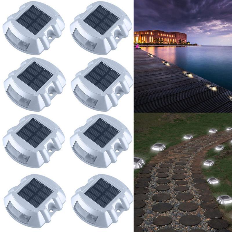 Solar LED pathway marker dock light waterproof security warning lights white road stud for patio yard