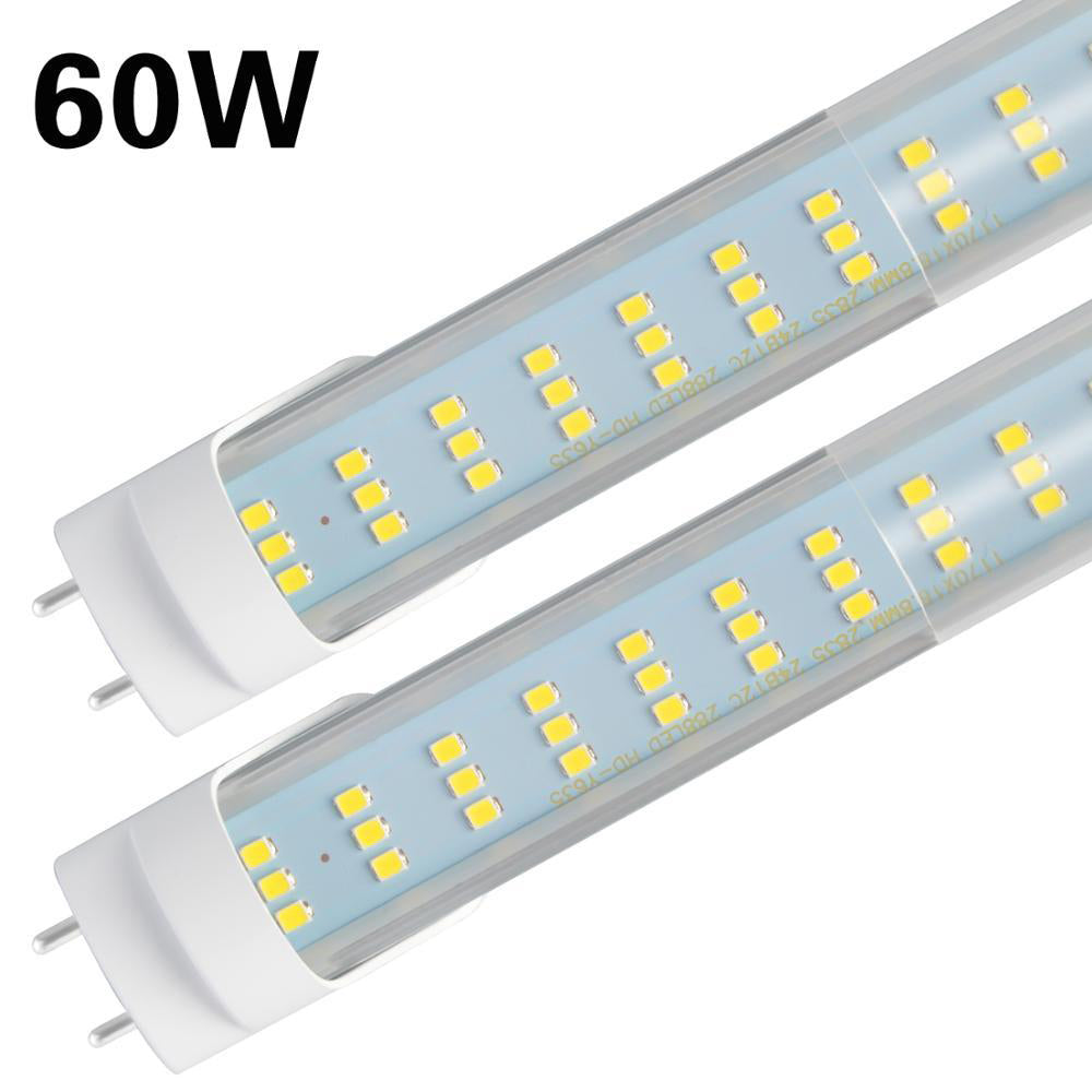 LED light tubes 4 pack 4ft 60w led bulbs light 288pcs chips clear cover flat triple row foot fluorescent fixture 6500lm